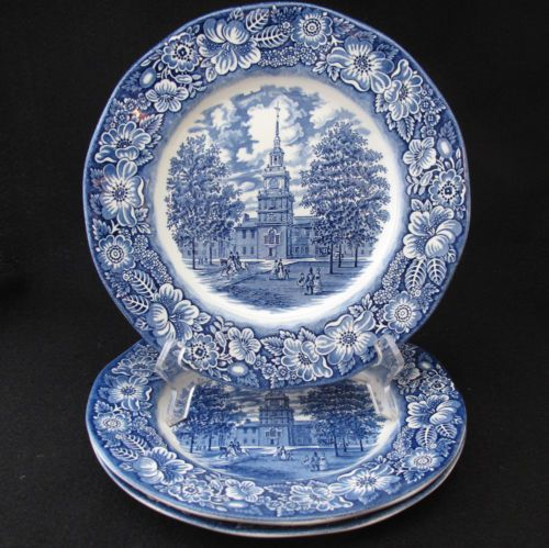 Gorgeous blue and white Staffordshire Liberty Blue dinner plates
