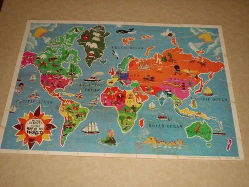 Milton bradley usa map puzzle vintage 1975 milton bradley united states world map on wood two gumiabroncs Images