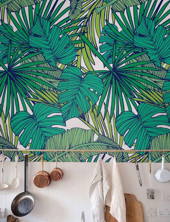 Palm Monstera leaf Wallpaper, Removable Wallpaper, Self-adhesive Wallpaper…