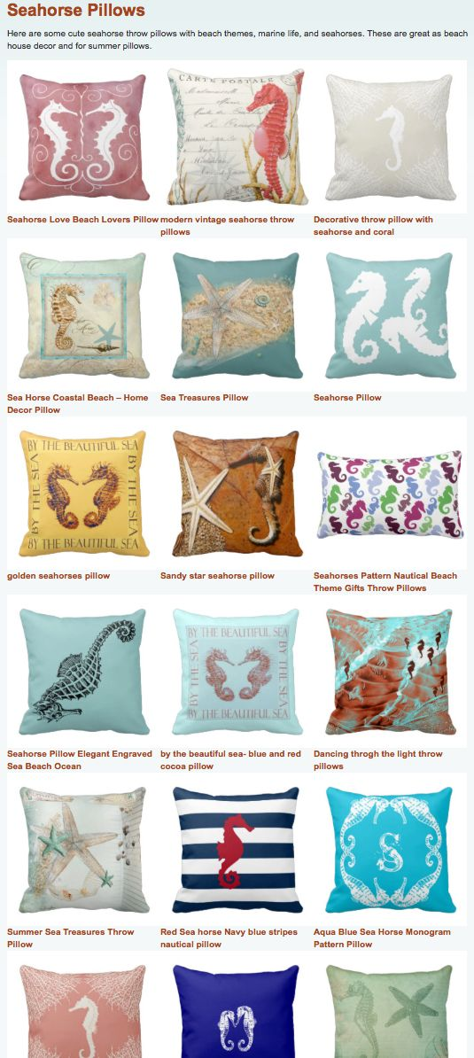 Cool seahorse throw pillows for nautical beach house decor for Cool beach decor