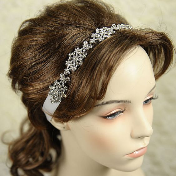 VALLERIE - Victorian Style Rhinestone Silk Ribbon Bridal Headband, Vintage Inspired Wedding Hair Accessory, Ivory Silver Wedding Headband. $92.00, via Etsy.