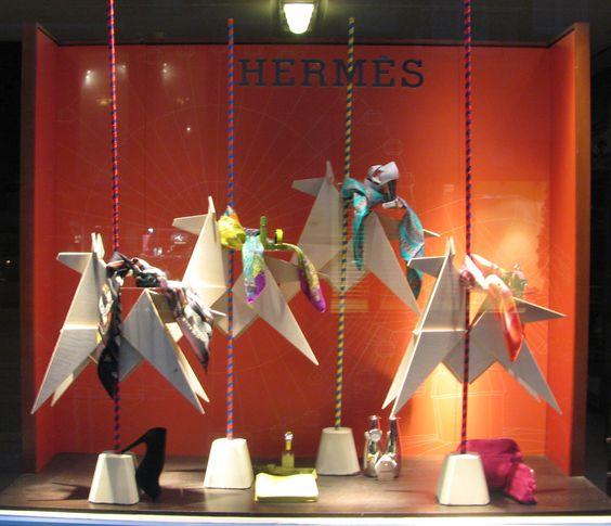 birkin shoulder hermes - Hermes, Amsterdam Great window! Origami birds with scarves ...