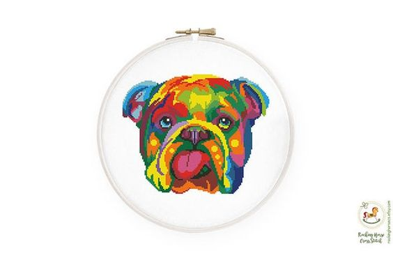 Colorful English Bulldog Cross Stitch Pattern Rainbow Dog Etsy