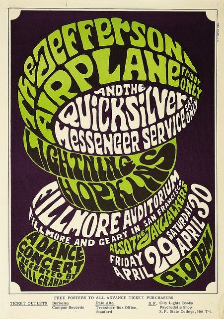 Jefferson Airplane Fillmore Concert Poster  Bill Graham 1966                                              Poster Art by Wes Wilson