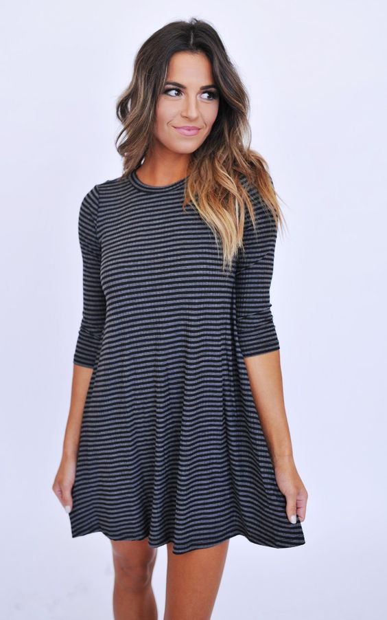 Black/Grey Striped Ribbed Tunic Dress - Dottie Couture Boutique:
