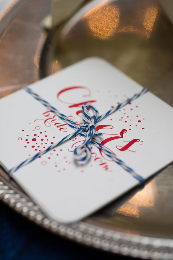 Wedding Favors Were Coaster With Blue And Red Accents
