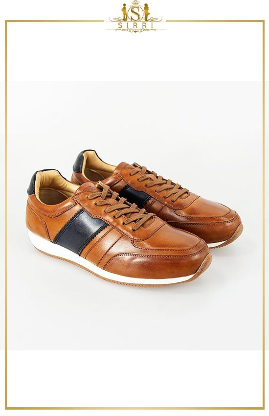 Men's Lace-up Leather Trainers in Tan