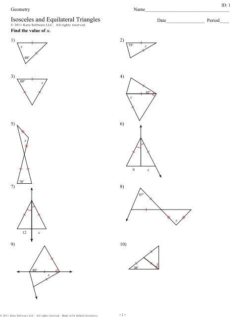 Isosceles And Equilateral Triangles Worksheet Triangle Worksheet,  Worksheets, Answer Keys