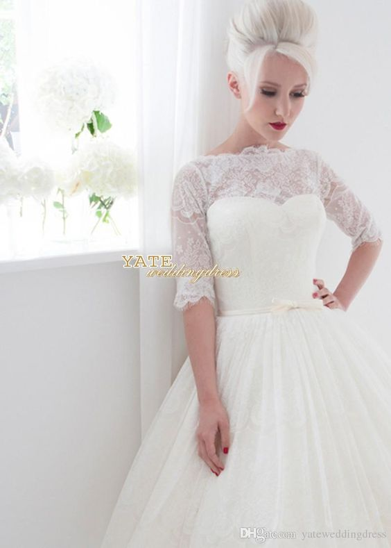 Wholesale 2015 Spring Summer Short Beach Wedding Gown Sheer Back Bridal Gowns With Half Sleeve Knee Length Free Shipping, Free shipping, $113.09/Piece   DHgate Mobile