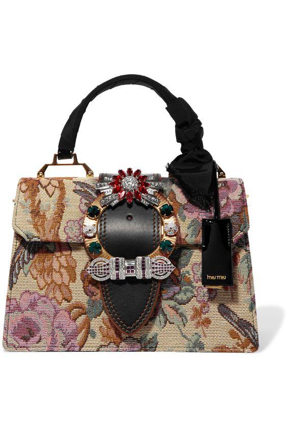 Miu Miu   Embellished leather-trimmed floral-jacquard tote   NET-A-PORTER.COM