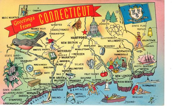 Connecticut State Map Postcards Greetings by heritagepostcards, $2.75