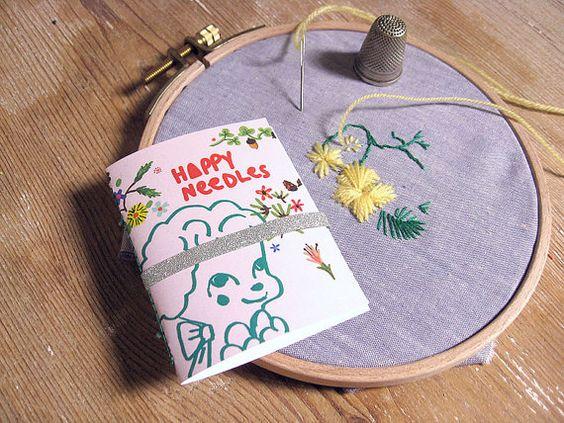 Sewing needle case. Poodle. Embroidery needle holder. Retro Needle Book. Sewing kit. Travel needle case. Gift for sewer. Needle organizer.