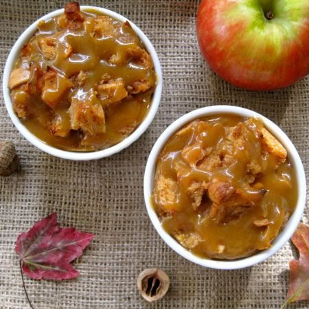 Harvest Apple Bread Pudding w/Salted Maple-Caramel Sauce