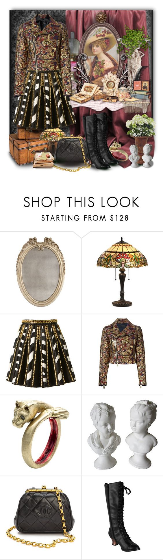 """""""The Grand Impression"""" by maneevanit ❤ liked on Polyvore featuring Bliss Studio, Trilogy, Balmain, Dsquared2, by / natalie frigo, Chanel, HADES, Dolce&Gabbana, skirt and jacket"""