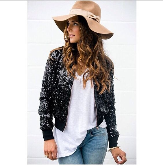 Sequins and hat