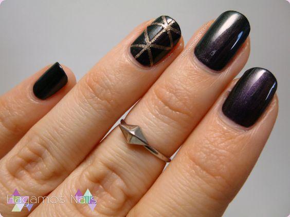 Nail art con esmaltes duocromo: morado y verde #nailart #duocromo #violet #green #nailpolish #hagamosnails