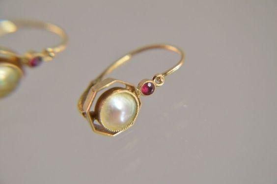 v1t30- Paar Jugendstil 585 Gold Ohrringe mit Perle & Rubin um 1900