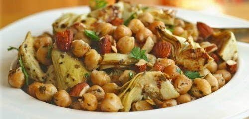 warm chickpea and artichoke salad