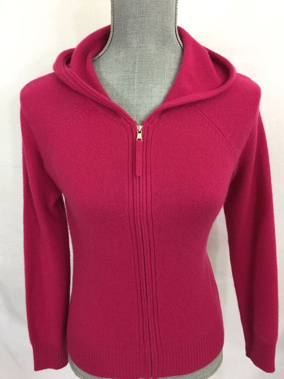 Ann Taylor Pink Zip Up Hoodie 100% Cashmere Sweater XS Womens #AnnTaylor #Cardigan