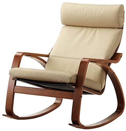 Enjoy Exclusive For Ikea Poang Rocking Chair Medium Brown Robust Off White Leather Cushion Online With Images Poang Rocking Chair Rocking Chair Leather Cushion