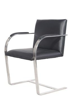 Bernie Black Genuine Leather Chair