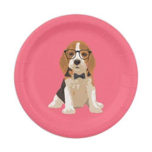 Cute Hipster Beagle Puppy Dog For Dog Lovers Paper Plate Zazzle