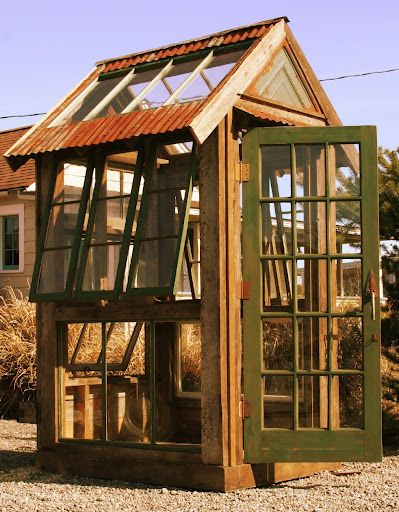 Homemade homemade greenhouse and bobs on pinterest for Reclaimed window greenhouse