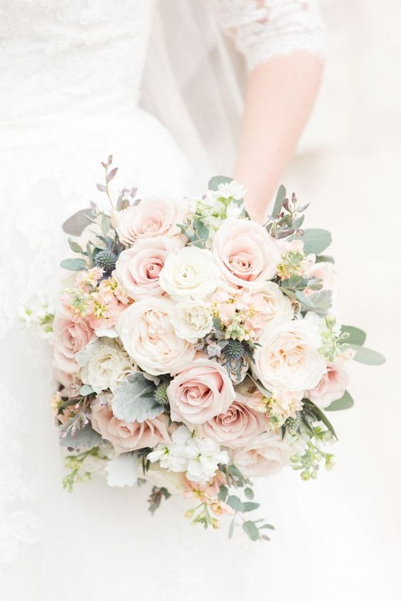Elegant blush pink wedding bouquet --- love how full + tight knit the blooms are. The perfect bouquet for your elegant, spring wedding! Photo taken at THE SPRINGS Event Venue. Follow this pin to our website for more information, or to book your free tour!
