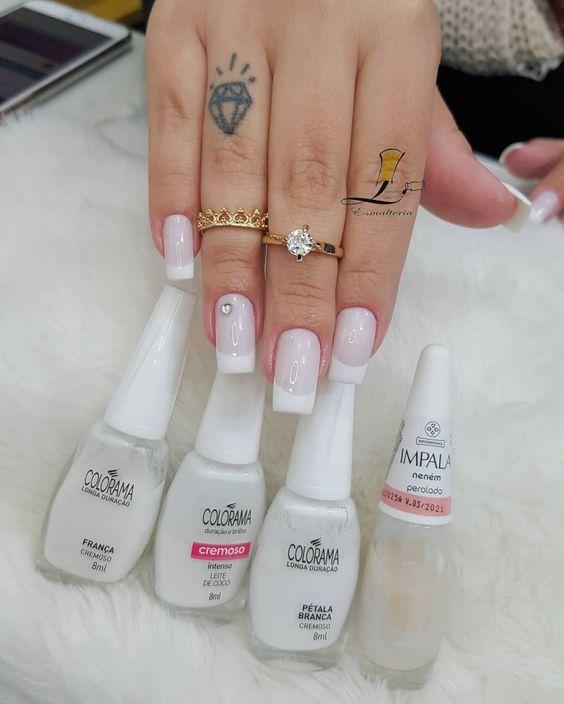 Unhas com esmalte Branco, Maravilhosas que você irá querer. Combinações de esmaltes