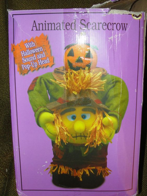 Halloween animated errie sounds scarecrow pumpkin eye for Animated scarecrow decoration