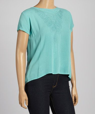 Another great find on #zulily! Teal Embroidered Button-Back Top - Plus by C.O.C. #zulilyfinds