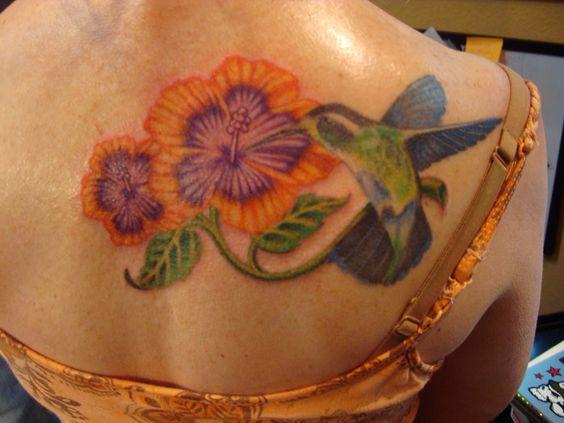 Humming bird with flower tattoo - Nephtali Brugueras jr.