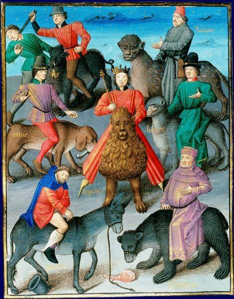 Allégorie des péchés capitaux Vincent de Beauvais, Miroir historial Paris, 1463. Traduit par Jean de Vignay, illustré par Maître François Paris, BNF, département des Manuscrits, Français 50, fol. 25: