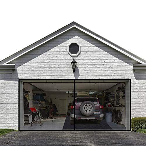 Garage Door Screen For 2 Car 16x7ft Garage Doors Heavy Duty Upgrade Glass Fiber Door Screen Curtain For Garag In 2020 Magnetic Screen Door Garage Screen Door Mesh Door
