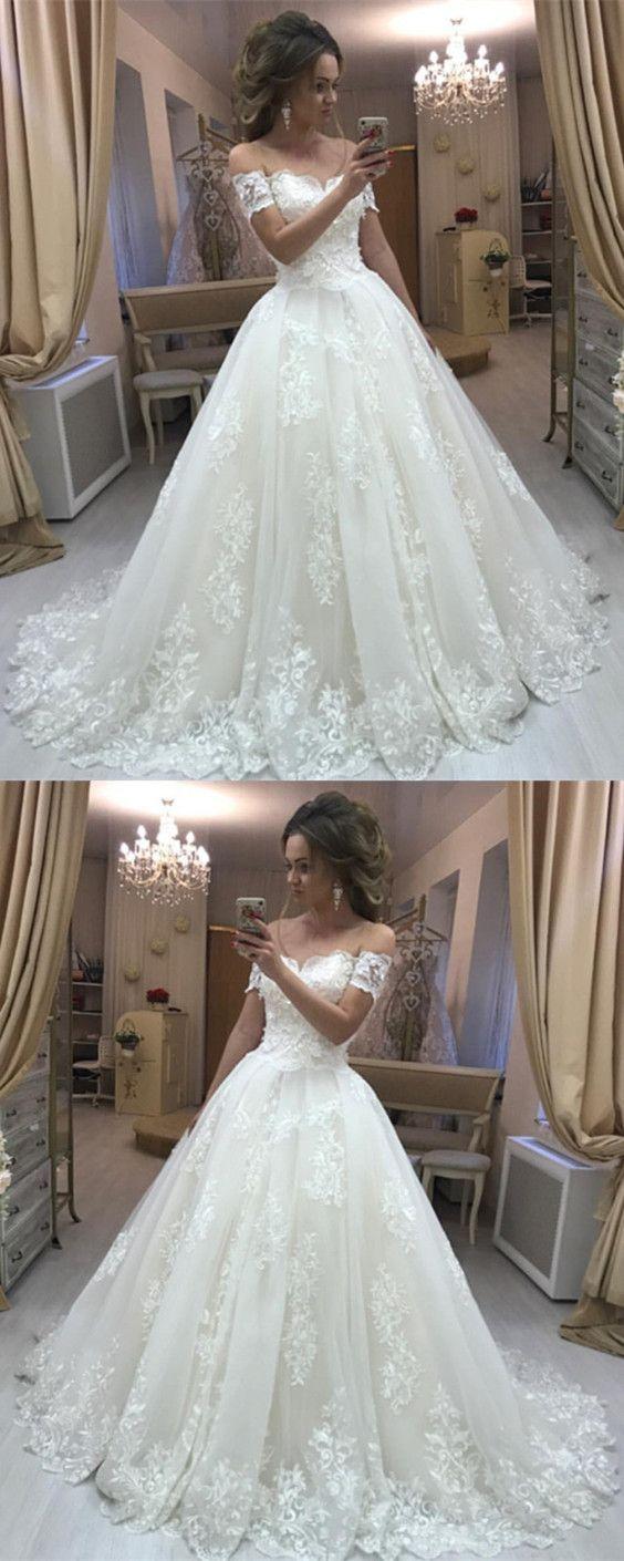 Off The Shoulder Short Sleeves Wedding Dress With Lace Wedding Dress Vintage Wedding Dresses Vintage Princess Tulle Wedding Dress