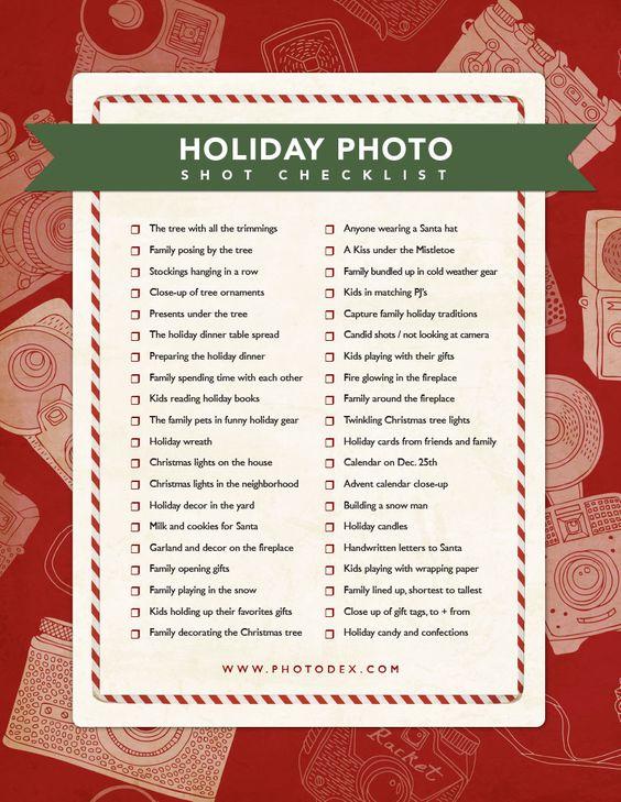 Holiday photos Holiday and Photography – Christmas Preparation Checklist