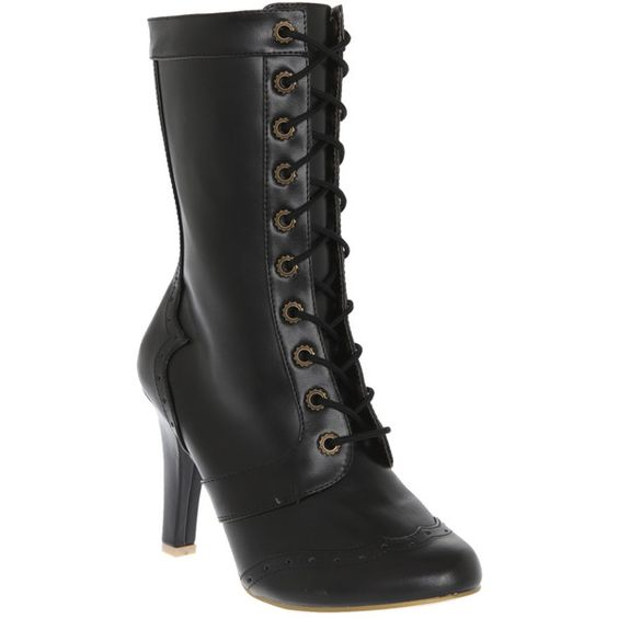 Demonia By Pleaser Tesla Lace-Up Boot | Hot Topic ($70) ❤ liked on Polyvore featuring shoes, boots, ankle booties, heels, black laced booties, black heel booties, heeled booties, black boots and lace up boots