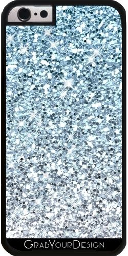 GrabYourDesign - Case for Iphone 6/6S Silver Blue Glitters Sparkles  - by Tees2go