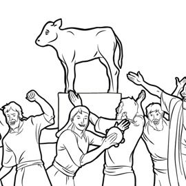 moses golden calf coloring pages - photo#11