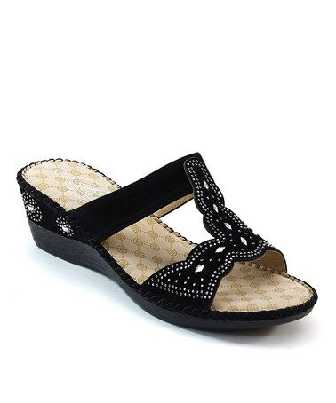 Love this Black Perforated Scallop Studded Slide on #zulily! #zulilyfinds