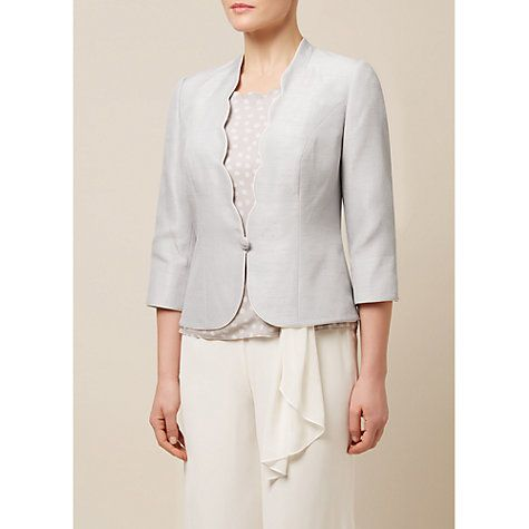 Buy Jacques Vert Contrast Trim Sculptured Jacket, Light Grey Online at johnlewis.com