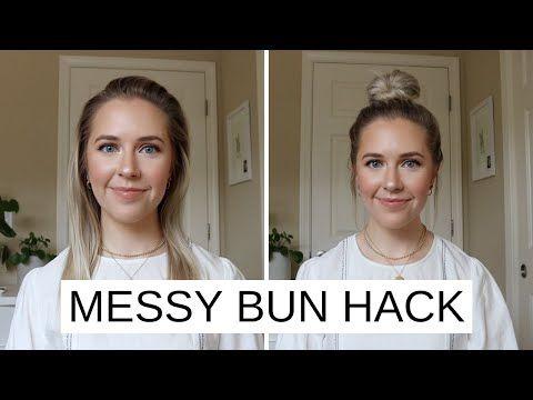 Easy Messy Bun Hack For Short Fine Hair Youtube In 2020 Short Hairstyles Fine Easy Bun Hairstyles Messy Bun For Short Hair