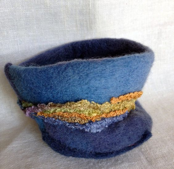 Needle Felted Blue Bowl with Earth Tone Yarn by 2CityStudio, $20.00