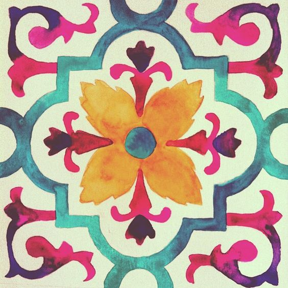 Water colour painting. Love the colours and the pattern.