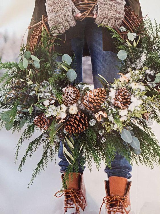 Updated Christmas wreath Martha Stewart December 2017 grapevine, eucalyptus, cedar, pine cones, greens, juniper, snow