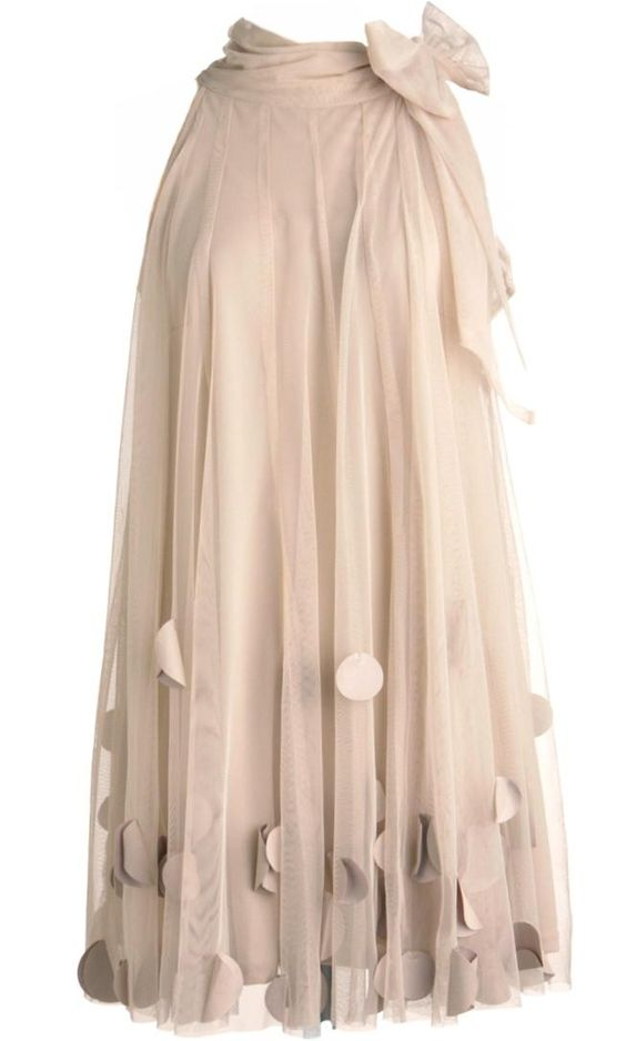 Bridal Dreams Dress: Features a beautifully swathed high halter neckline with ultra feminine bow romancing the side, expertly-draped sheer chiffon fabric cascading down all sides with tonal liner for full coverage, and a sprinkling of satin circle appliques surrounding the hem for a spectacular finish.