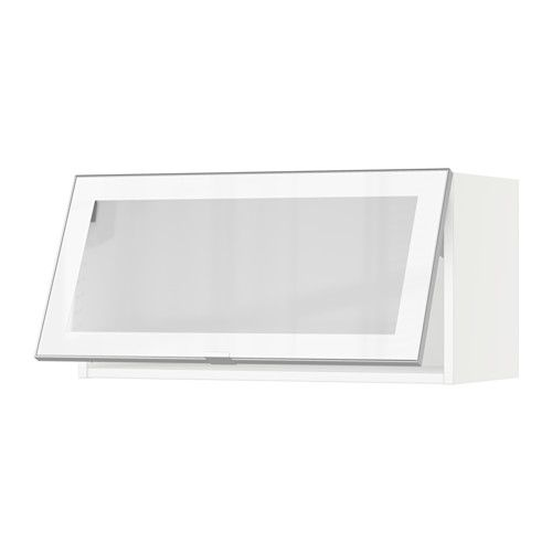 Sektion Horizontal Wall Cabinet Glass Door White Grimsl V Off White Bath Tubs Armoires And