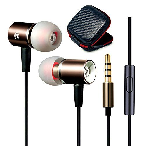 Jeselry Metal Extra Bass Earbuds Mic In Ear Buds Stereo Headphones Compatible Ios Android Corded Earphones Headset Compati Earbuds Stereo Headphones Headphones