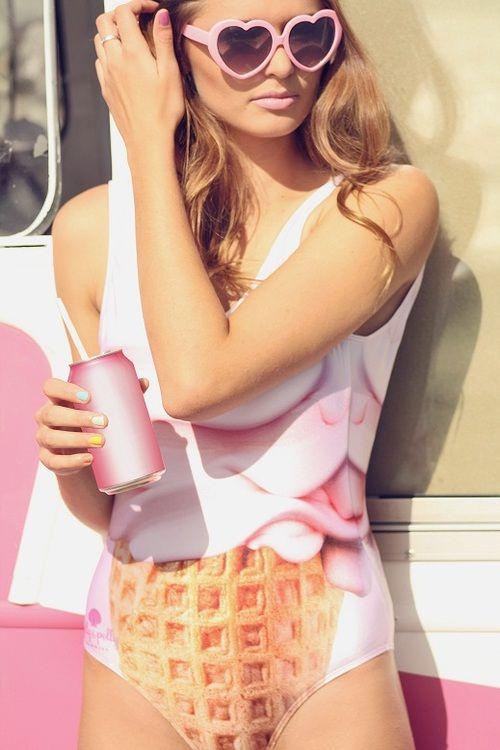 Beachwear maillot de bain lunette coeur rose