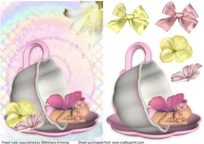 Berry girl on Craftsuprint designed by Mishara Armenia - Gorgeous fairy baby girl sleeping in a teacup quick card - Now available for download!